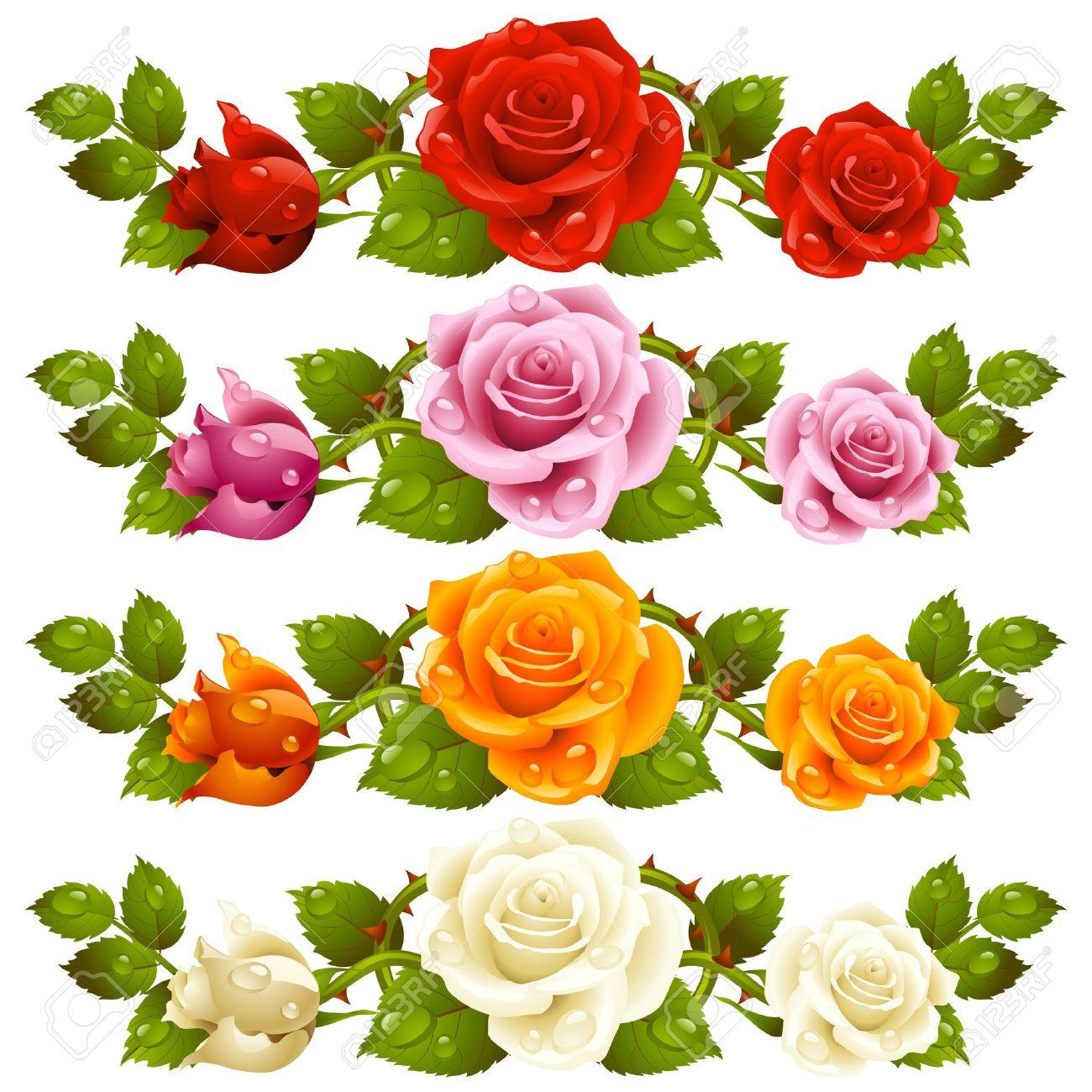 Vector rose horizontal vignette isolated on background red vector vector rose horizontal vignette isolated on background red pink yellow and white flowers mightylinksfo