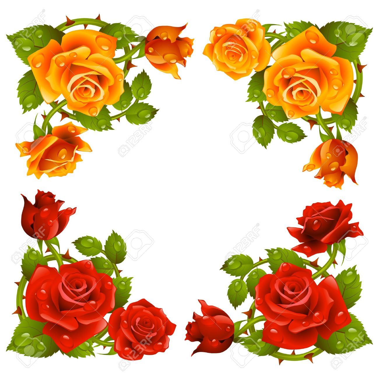 Vector rose corner isolated on white background. Red and yellow flowers. Stock Vector - 21050348