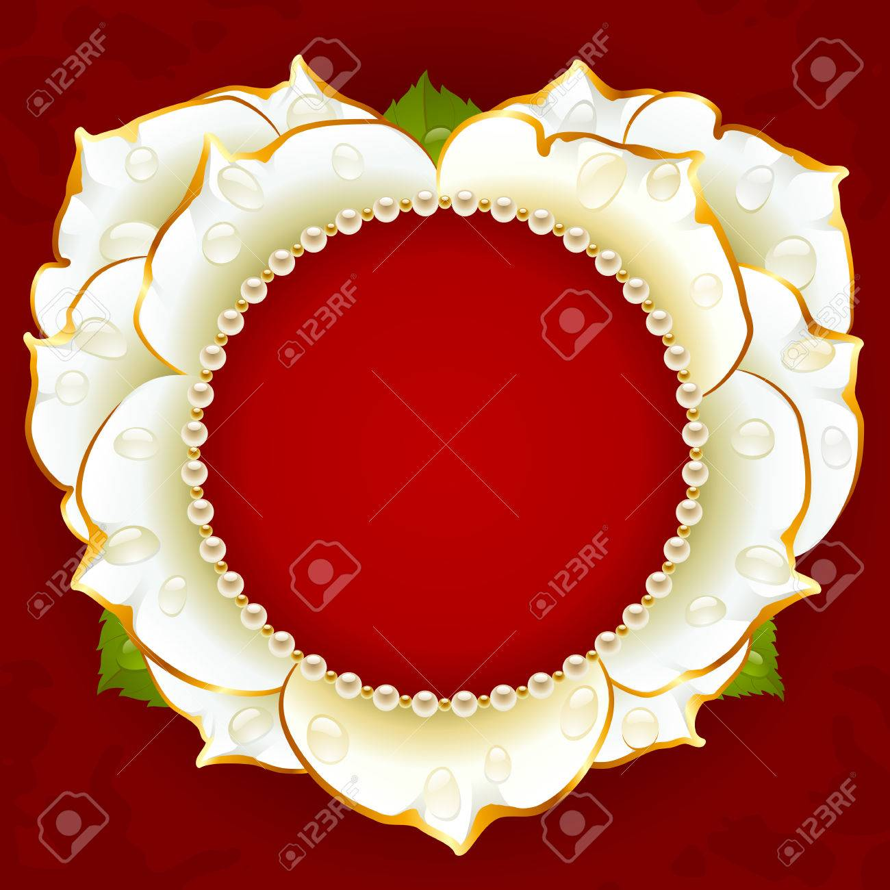 a16325ce5214 Vector White Rose Heart Frame With Pearl Necklace Royalty Free ...