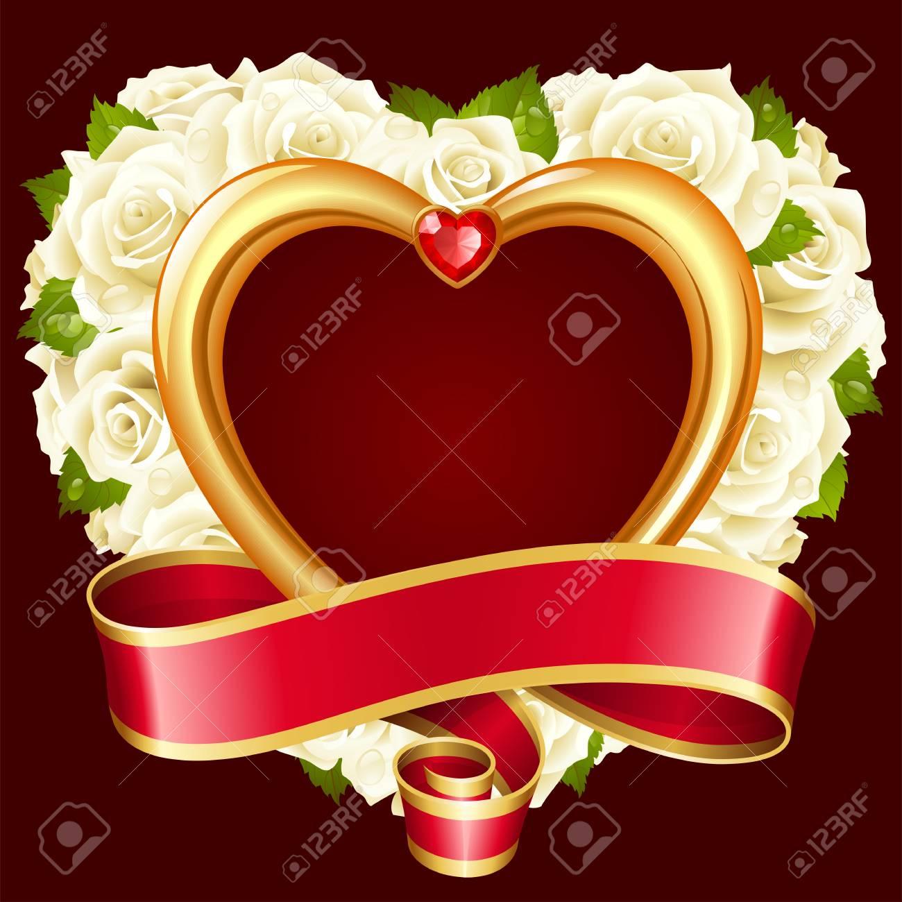 Vector Rose Frame In The Shape Of Heart. White Flowers, Ribbon ...