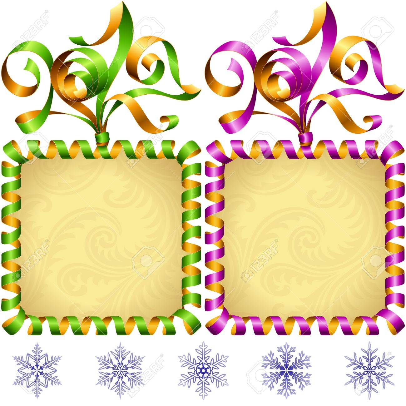 new year 2017 square frame set green and purple streamer stock vector 68100511