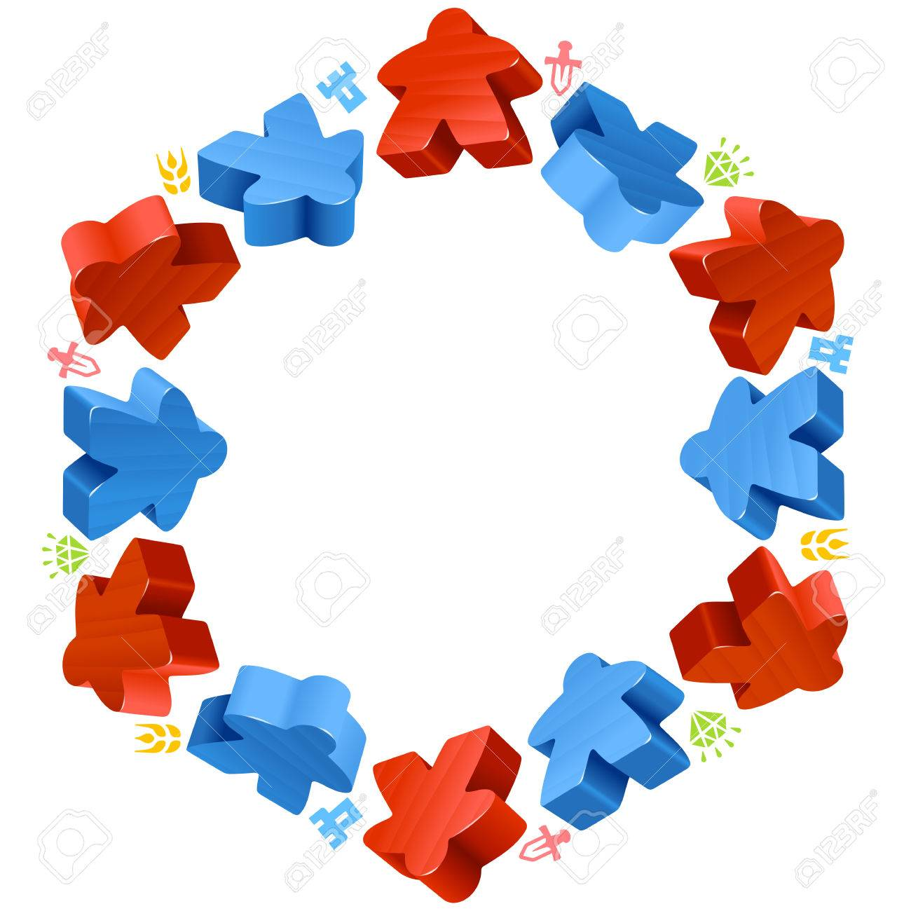 Hex Frame Of Meeples For Board Games Red And Blue Game Pieces