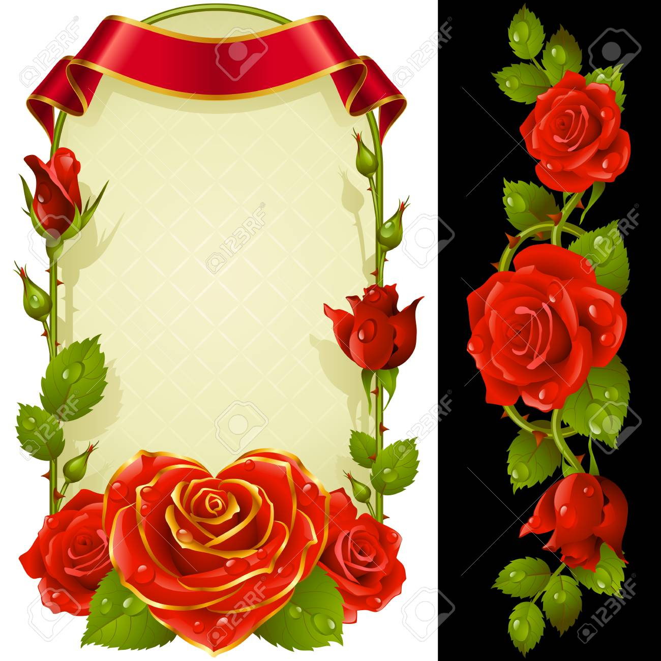 Set Of Floral Decoration. Red Roses, Green Leaves And Curly Ribbon ...