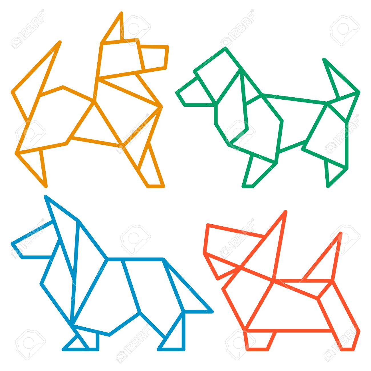 Chinese New Year Symbol Vector Origami Dogs Icon Set Abstract Low Poly Pet Dog Breed Sign Silhouette Isolated On