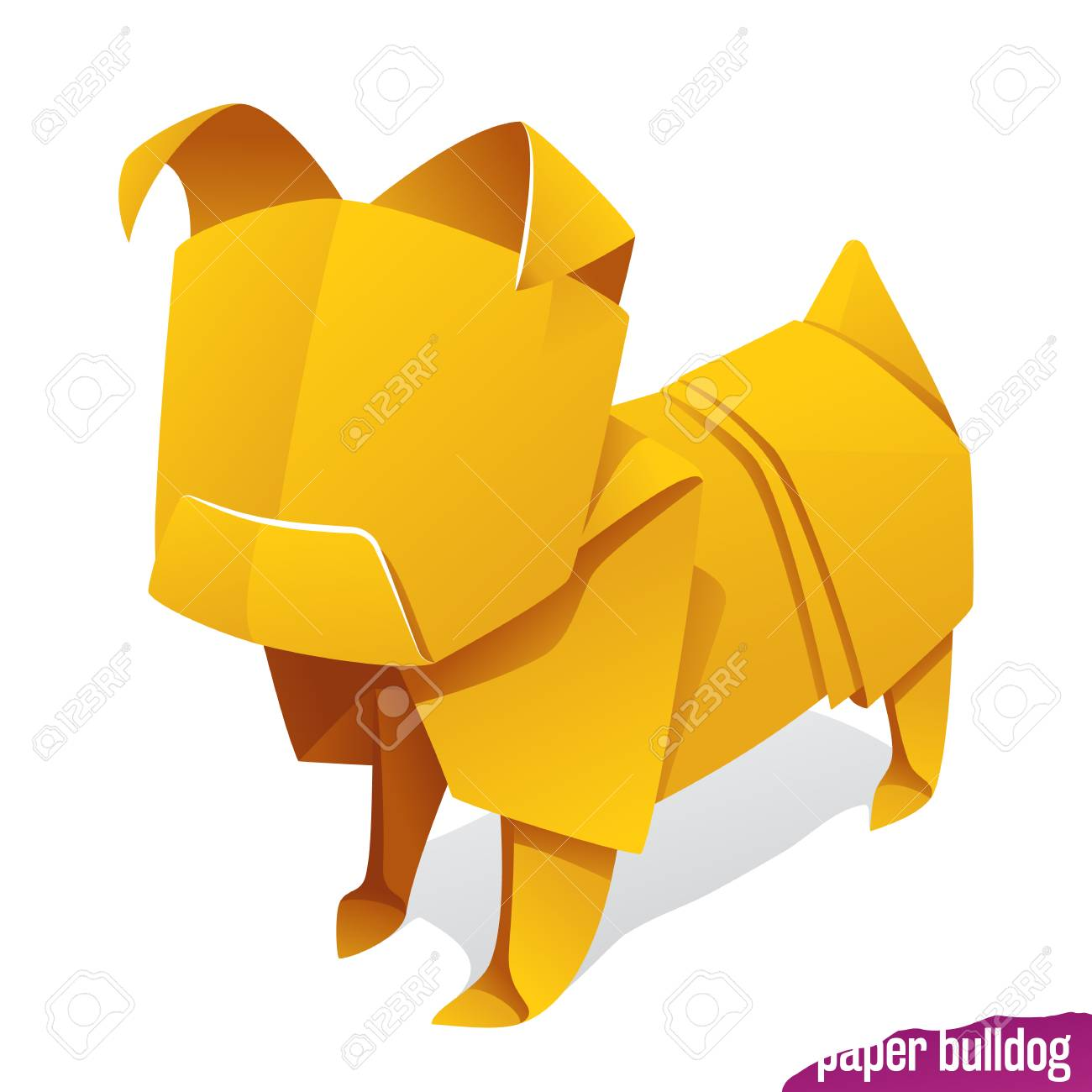 Vector Origami Paper Dog Yellow Pug Icon Isolated On White