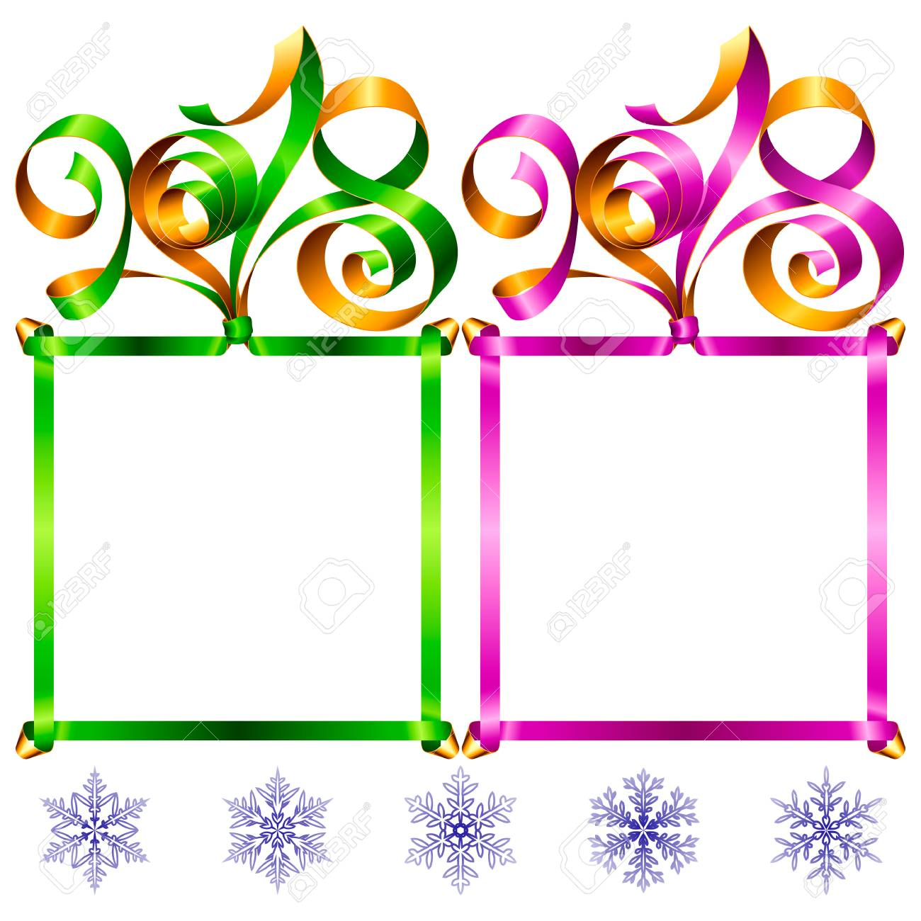 2018 Ribbons Lettering And Square Frames Set For New Year Greeting ...