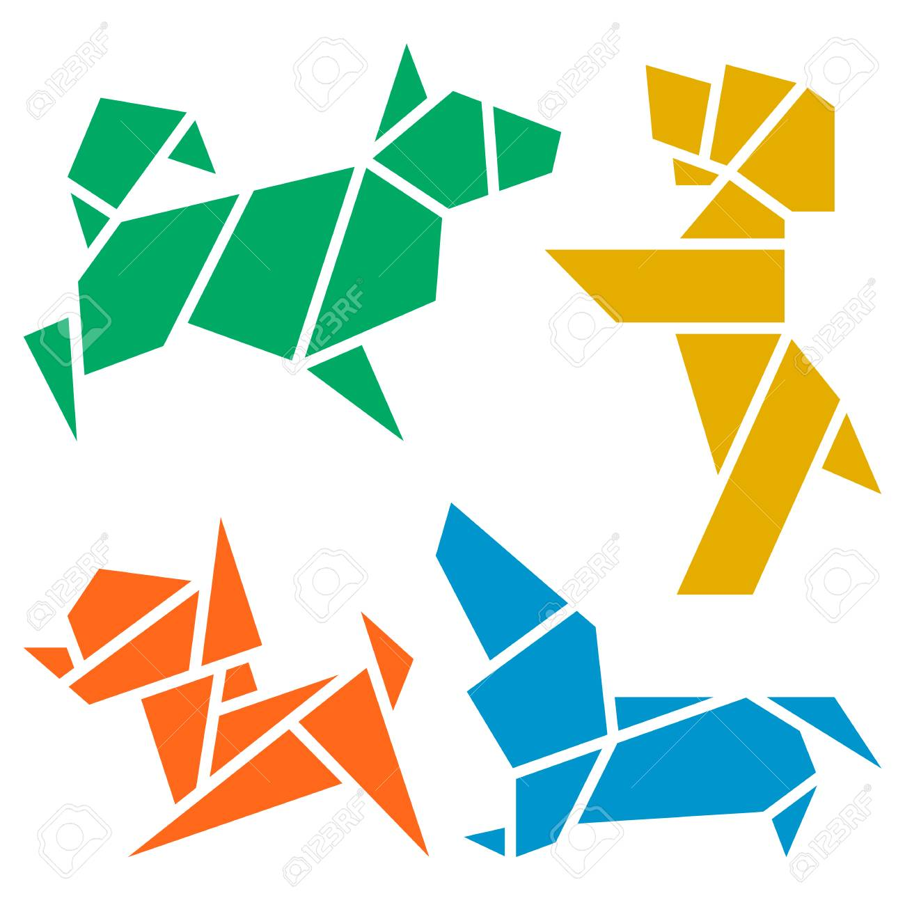 Vector Origami Dogs Icon Set  Abstract Low Poly Pet Dog Breed