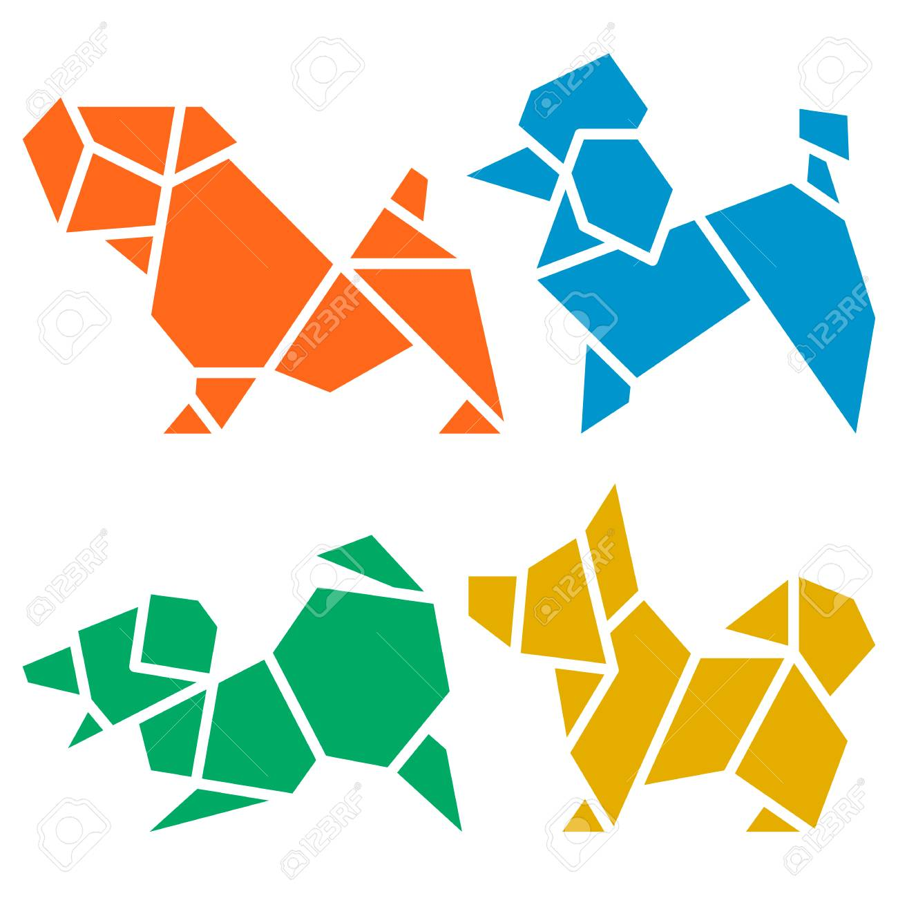 Vector origami dogs icon set abstract low poly pet dog breed sign vector origami dogs icon set abstract low poly pet dog breed sign silhouette isolated on jeuxipadfo Gallery