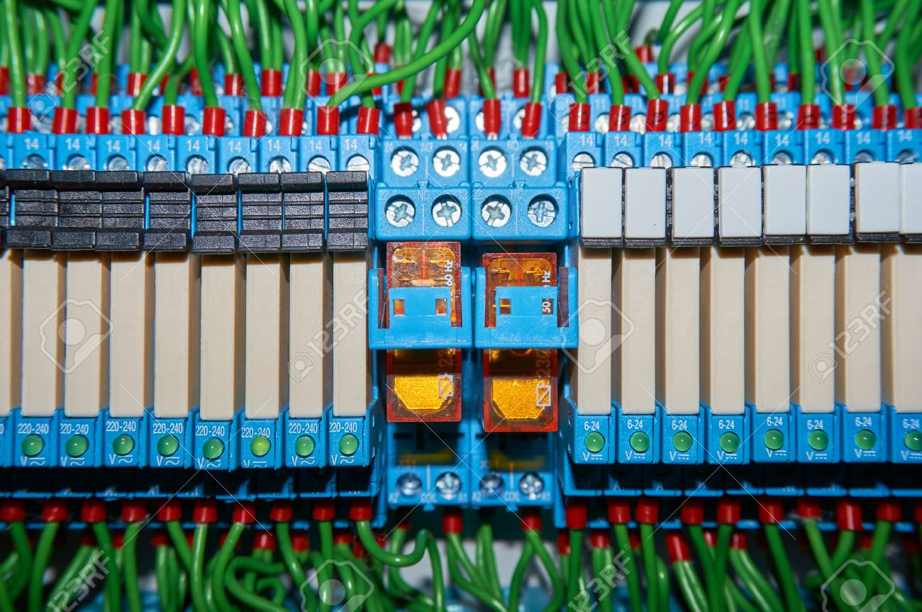 Some Electrical Relay Is Mounted On The Mounting Panel. Relays ...