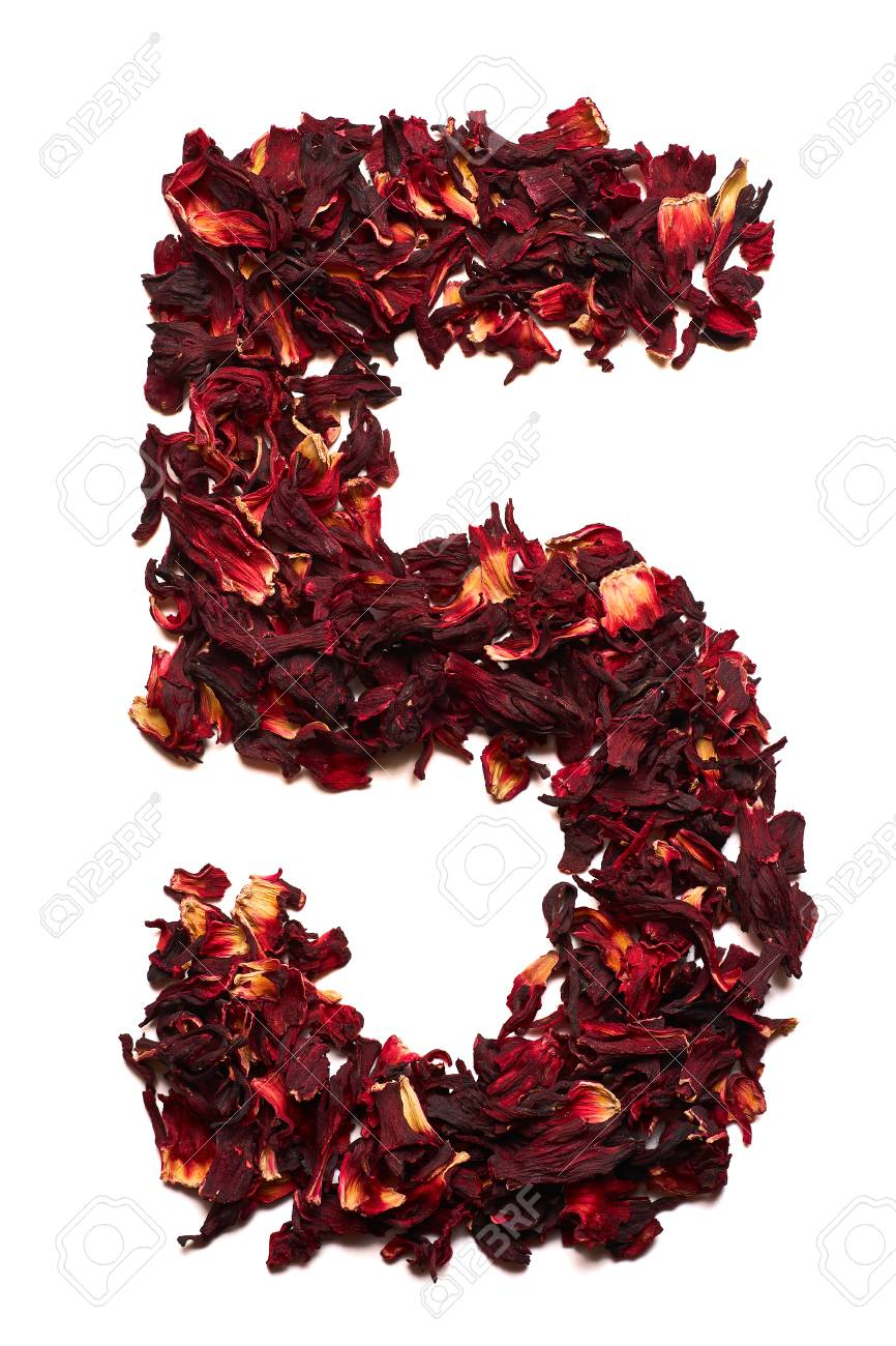 Number 5 From Dried Flowers Of Hibiscus Tea On A White Background