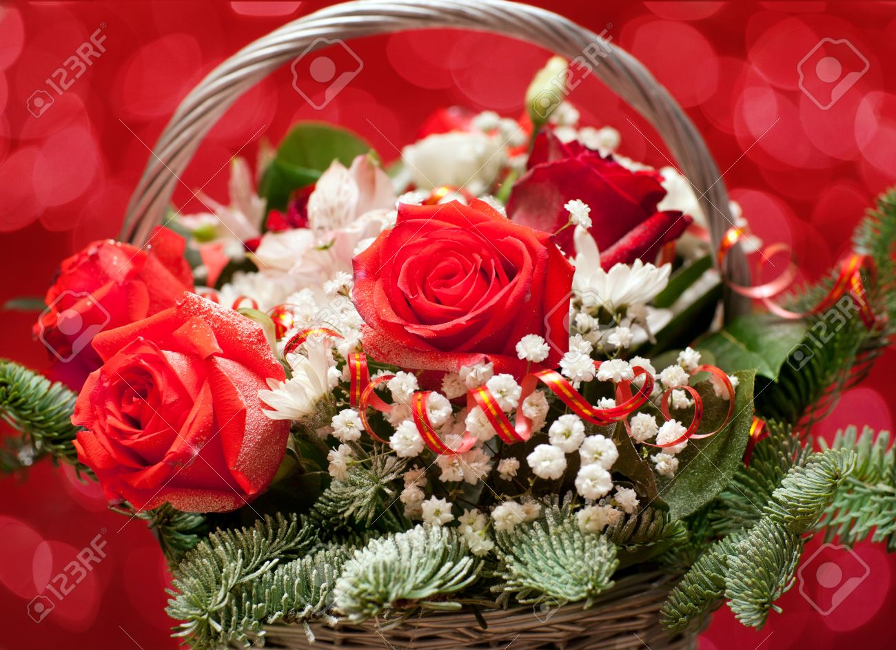 Bouquet Of Flowers On A Red Background With Beautiful Bokeh Stock