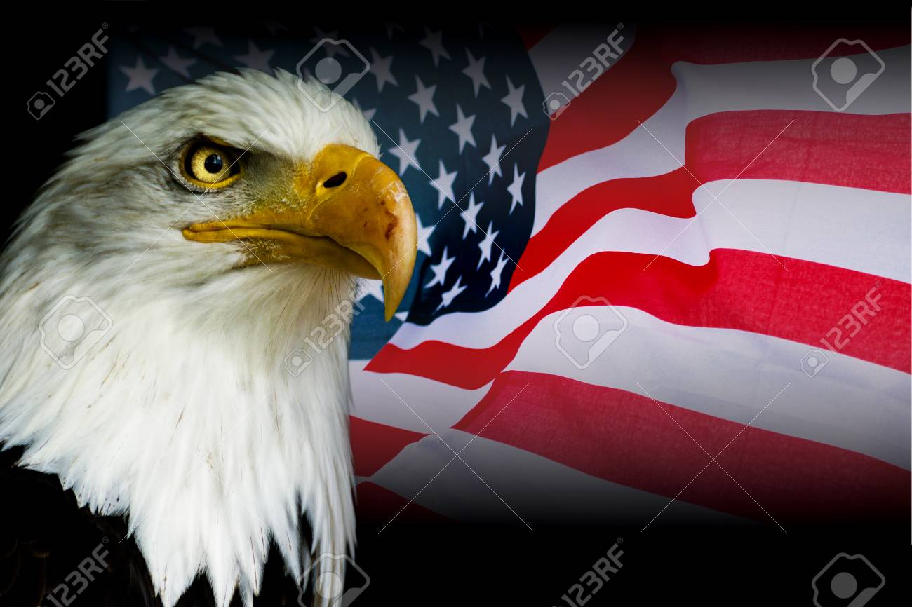 American Symbol Usa Flag With Eagle With Black Background Stock Photo Picture And Royalty Free Image Image 94682688