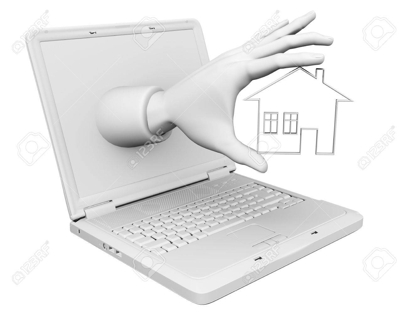 3d house from laptop Stock Photo - 7736618