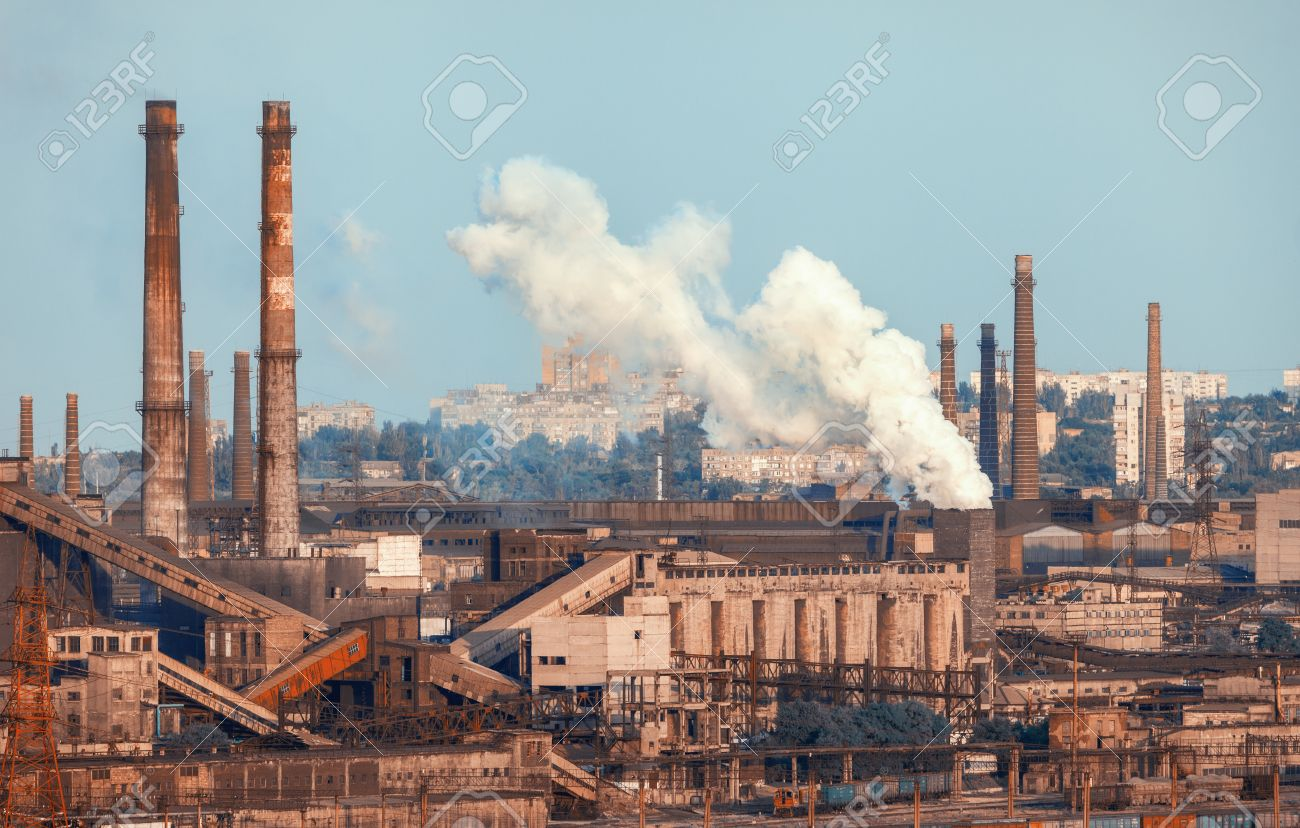 Industrial Landscape Steel Factory At Sunset Pipes With Smoke Steelworks