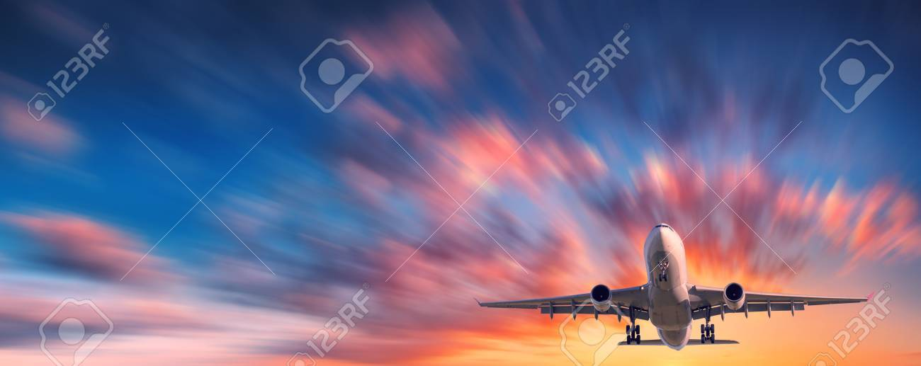 Airplane And Beautiful Sky With Motion Blur Effect Landscape Passenger Is Flying In