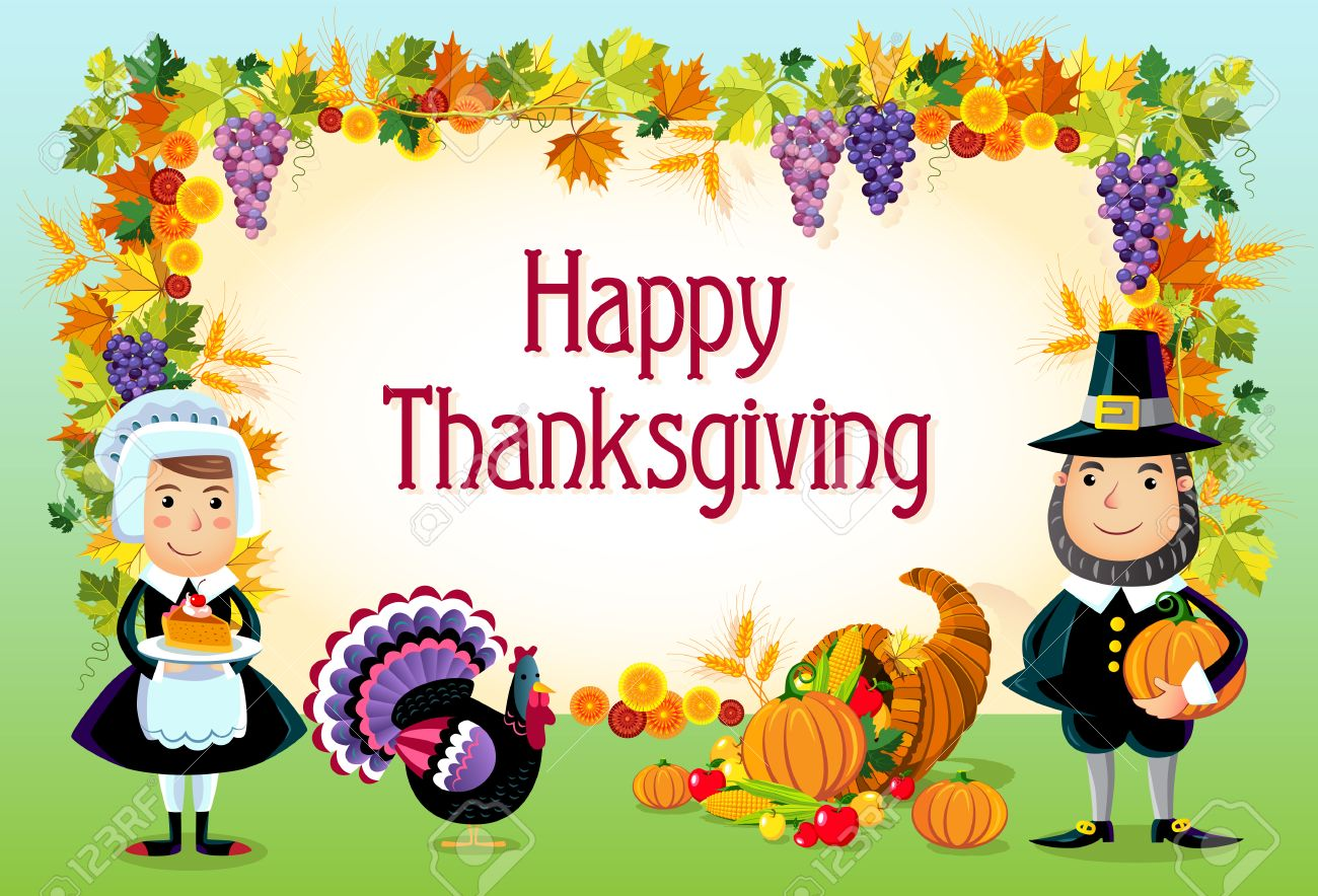 Vector illustration of happy thanksgiving day background. - 22960981