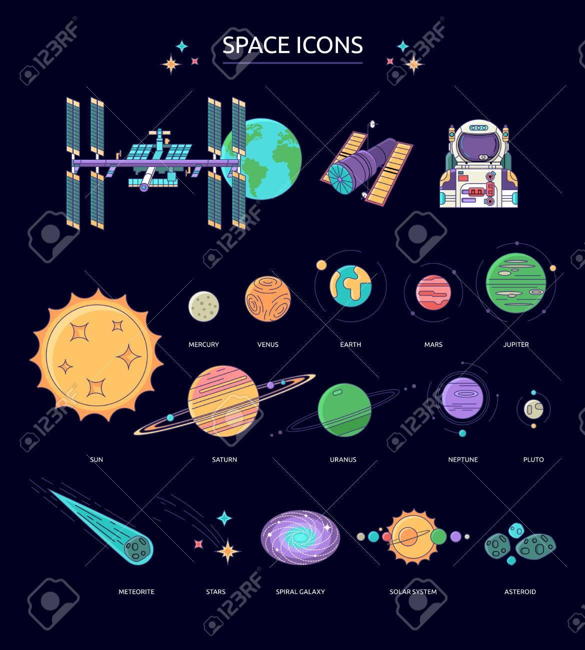 Connu Ensemble D'icônes Spatiales. Les Planètes Du Système Solaire  BY33