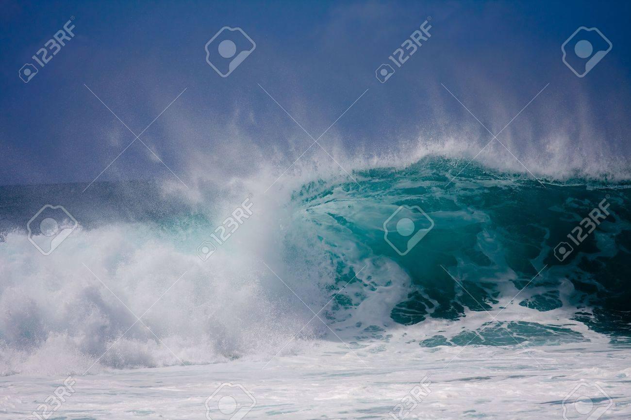 A huge wave is crashing on the beautiful Hawaii Oahu's North Shore Stock Photo - 7142320