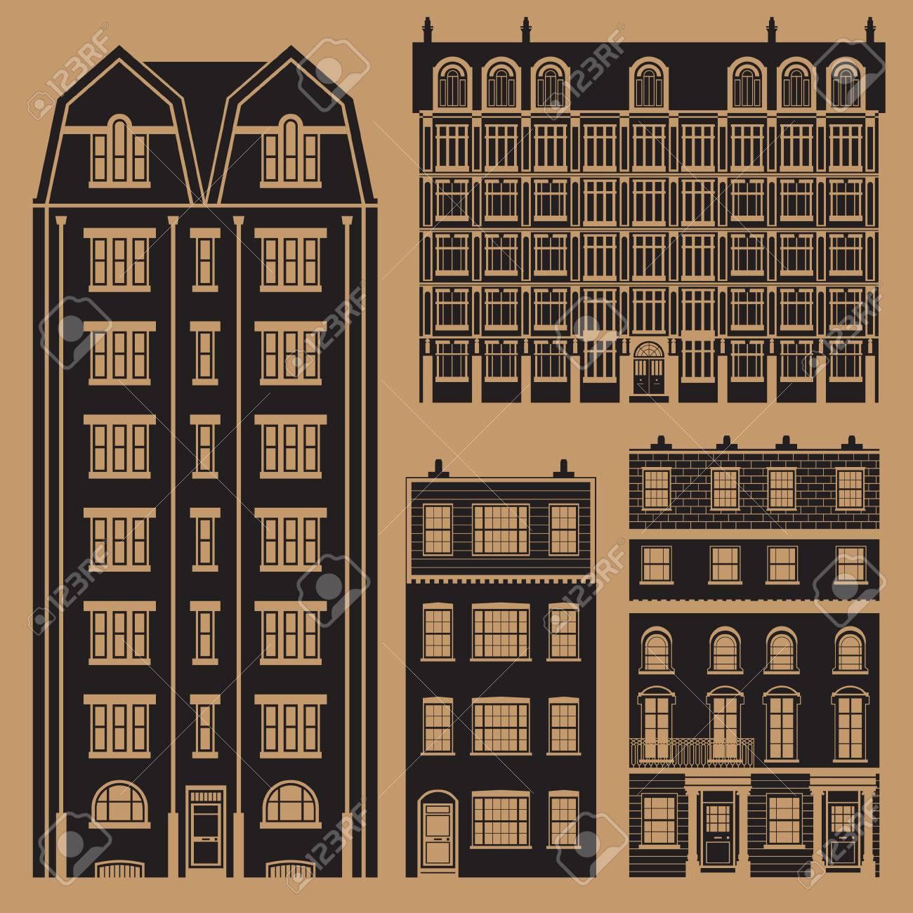 Edificios Establecidos Con Inglés Clásicas Casas De La Terraza Monocromo