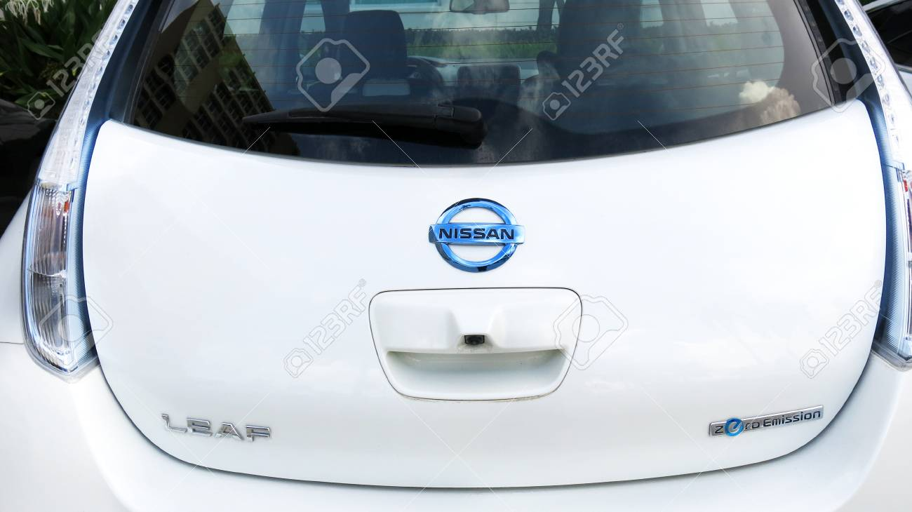 Stock Photo   West Palm Beach, Florida ,September 18, 2016, Rear View Of A  White Nissan Electric Car Displayed At The National Drive Electric Week  Event In ...