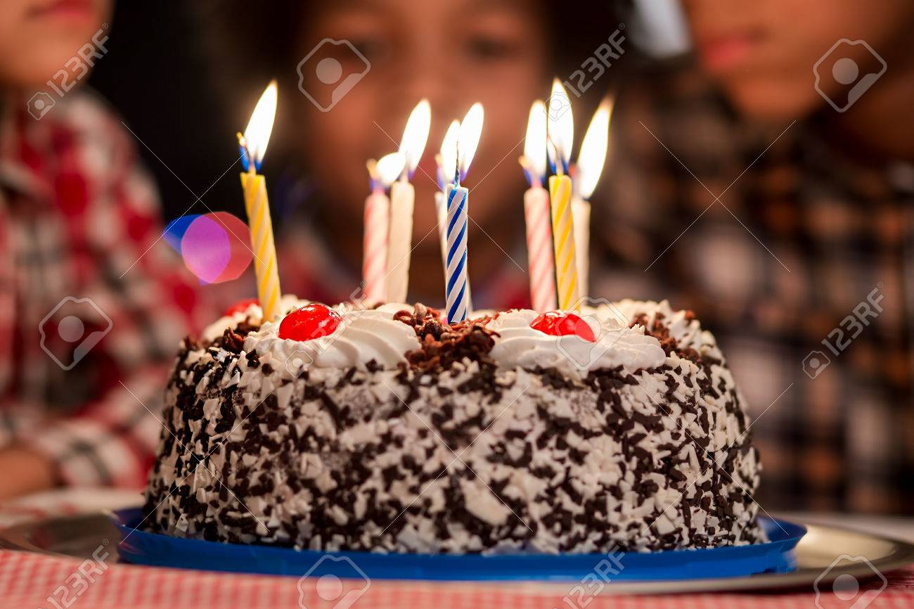 Cake In Front Of Kids Small Birthday With Candles Cant Wait
