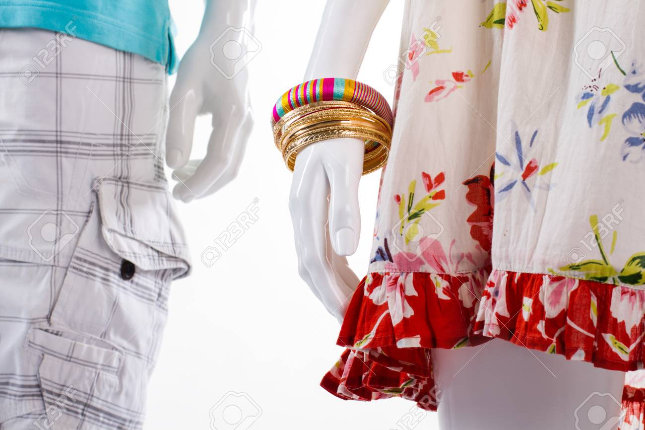 a722b8a53ac0 Bracelets and shorts on mannequins. Mannequins in light-colored clothing.  Woman s bracelets and