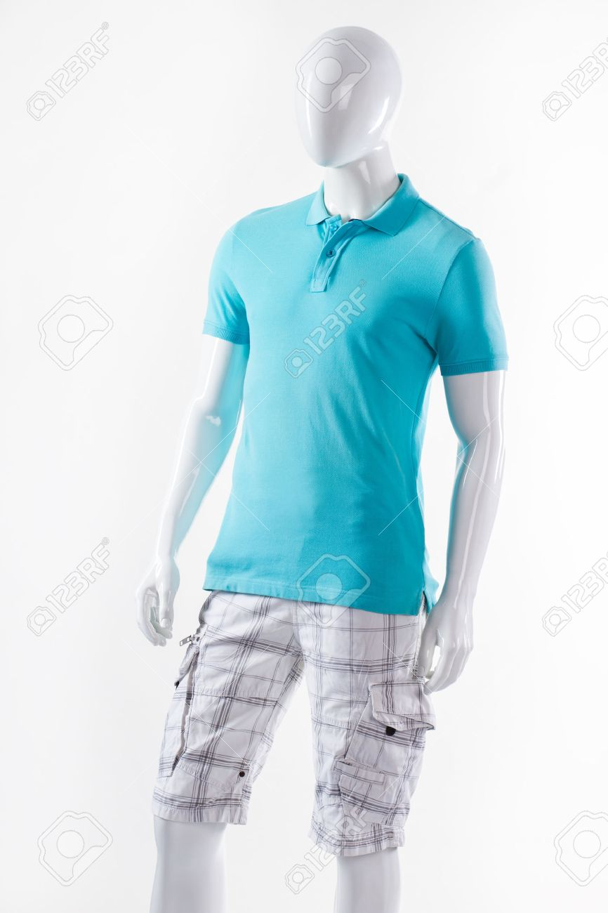 90de4ee409f9 Stock Photo - T-shirt and shorts on mannequin. Male mannequin wearing summer  clothes. Blue t-shirt and white shorts. Cargo shorts with polo t-shirt.