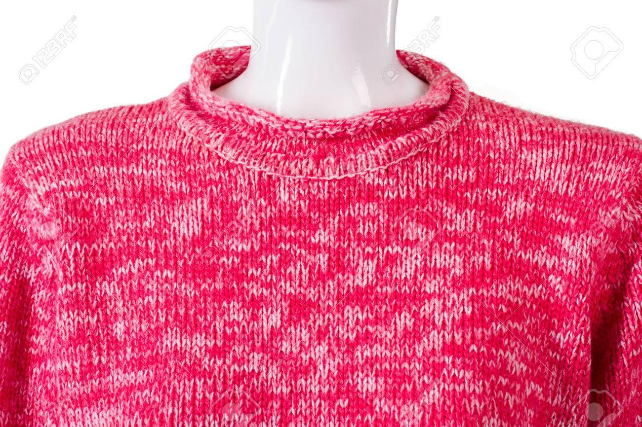 Suéter De Lana De Color Rosa De La Dama. Suéter Brillante En Maniquí ...