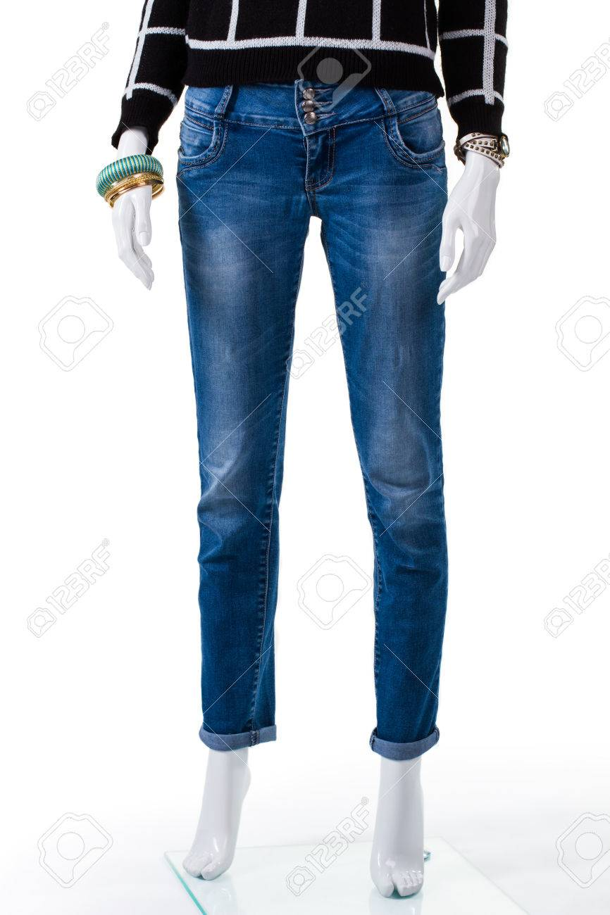 5de65b44aed Blue jeans with dark pullover. Female mannequin in simple jeans.  Combination of woman s autumn