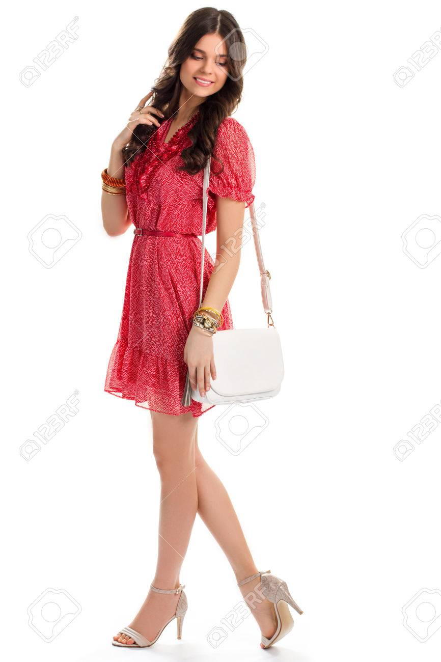 red dress white shoes Woman In Short Red Dress. Heel Shoes And White Bag. Pretty Model.. Stock  Photo, Picture And Royalty Free Image. Image 59816348.