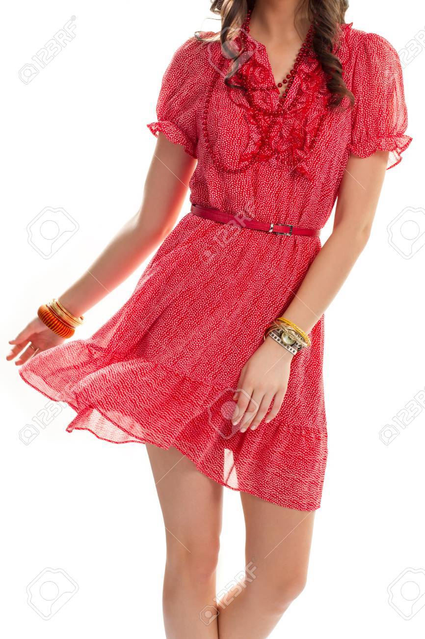 Lady In Red V Neck Dress Bead Necklace And Small Watch Accessories