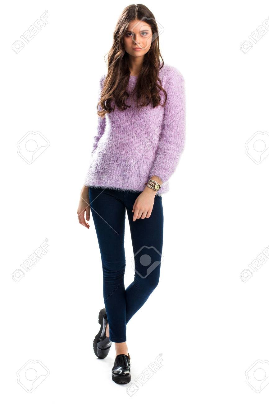 Woman In Light Purple Sweater, Black Shoes And Navy Trousers ...
