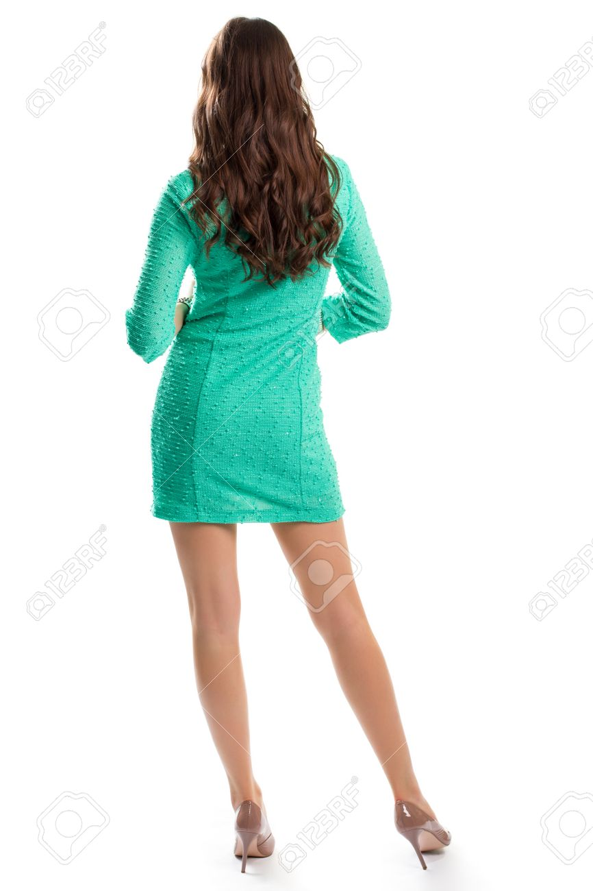 Lady Tragt Turkis Kleid Ruckansicht Der Stehenden Frau Modell Im Kurzen Fruhlingskleid Paar Teurer Ferseschuhe Lizenzfreie Fotos Bilder Und Stock Fotografie Image 60258796
