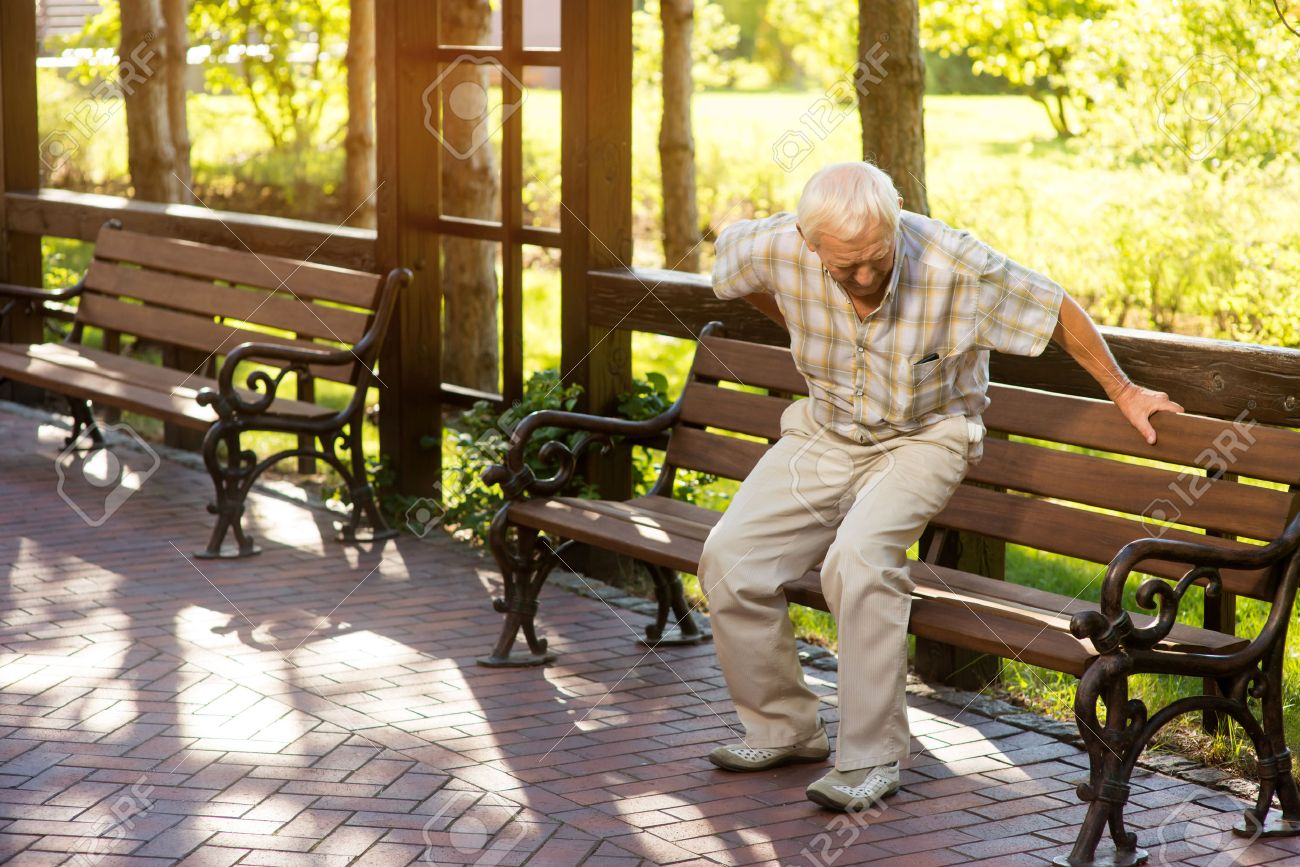 Senior Man Holding His Back Old Male Near Park Bench Strong