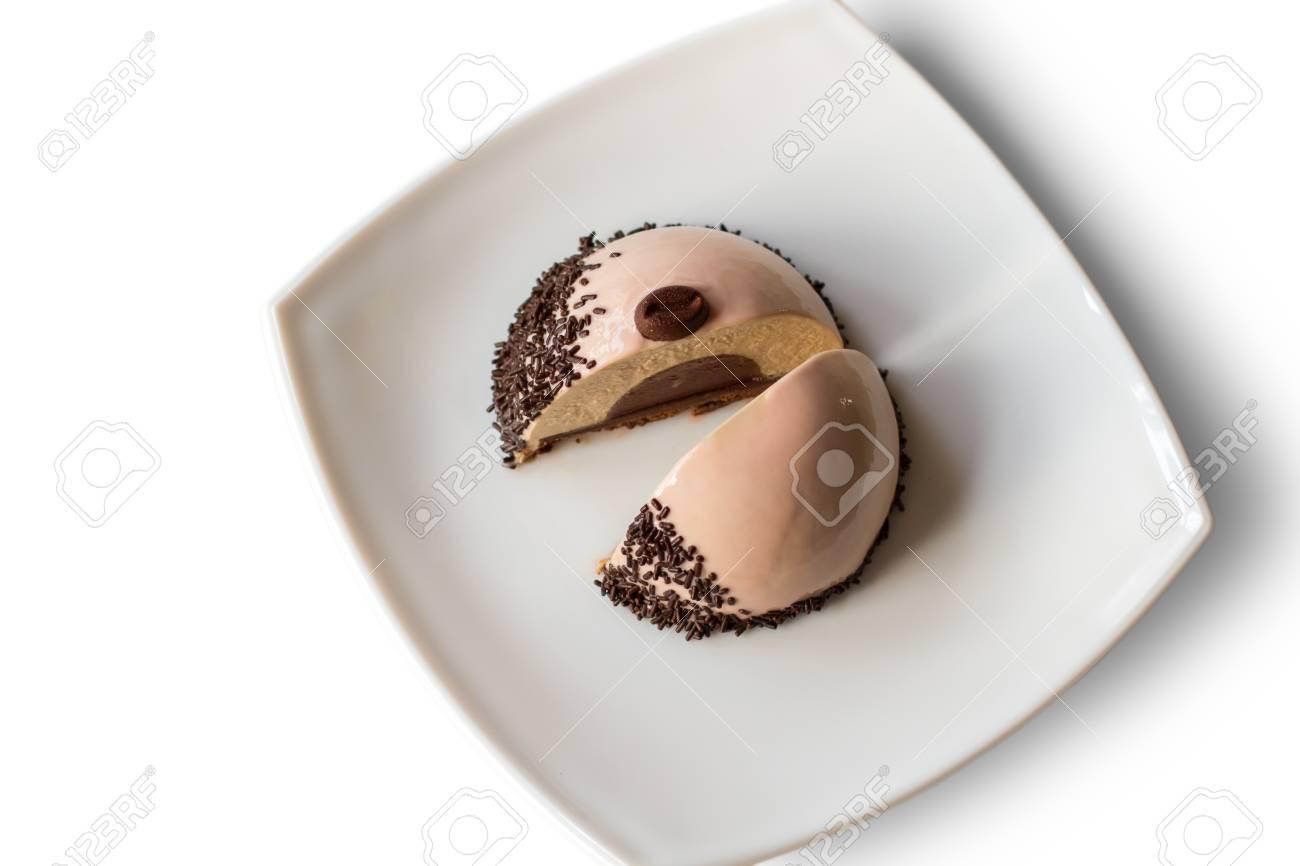 Kleiner Kuchen Mit Fullung Dekoriertes Susses Gericht Kaffee Mousse