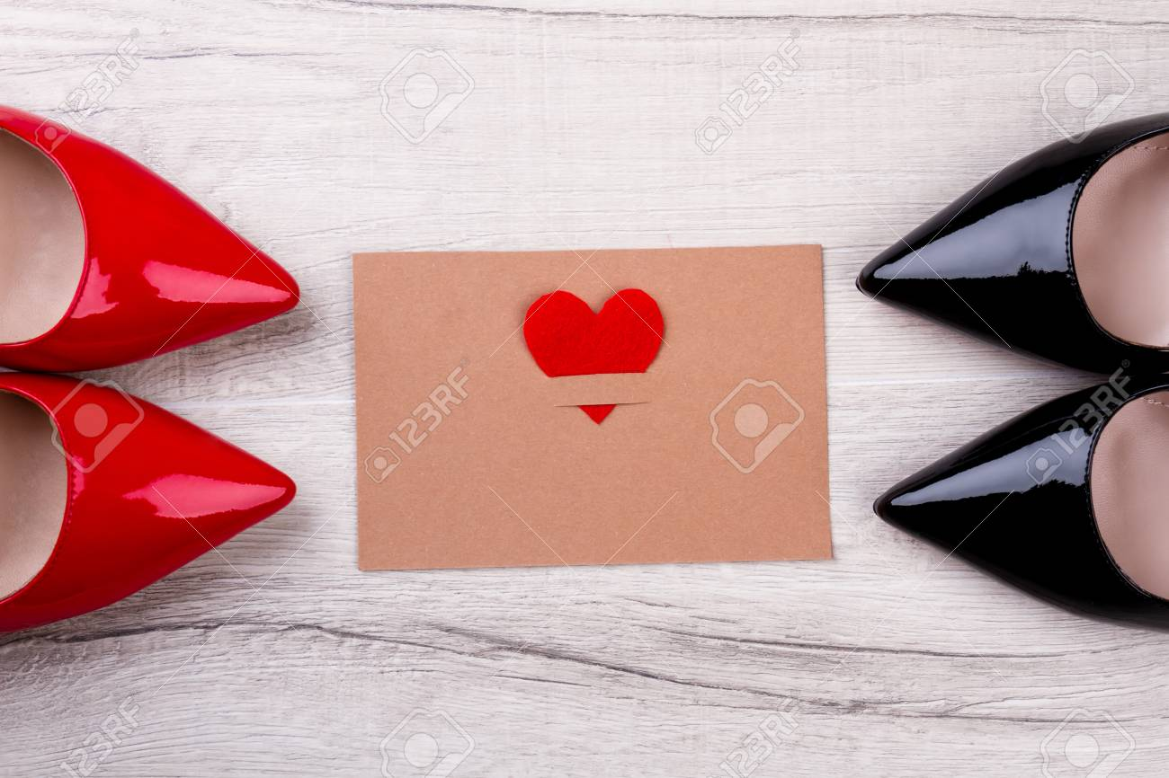 Greeting Card With Fabric Heart Shoes On Sides Of Card Make