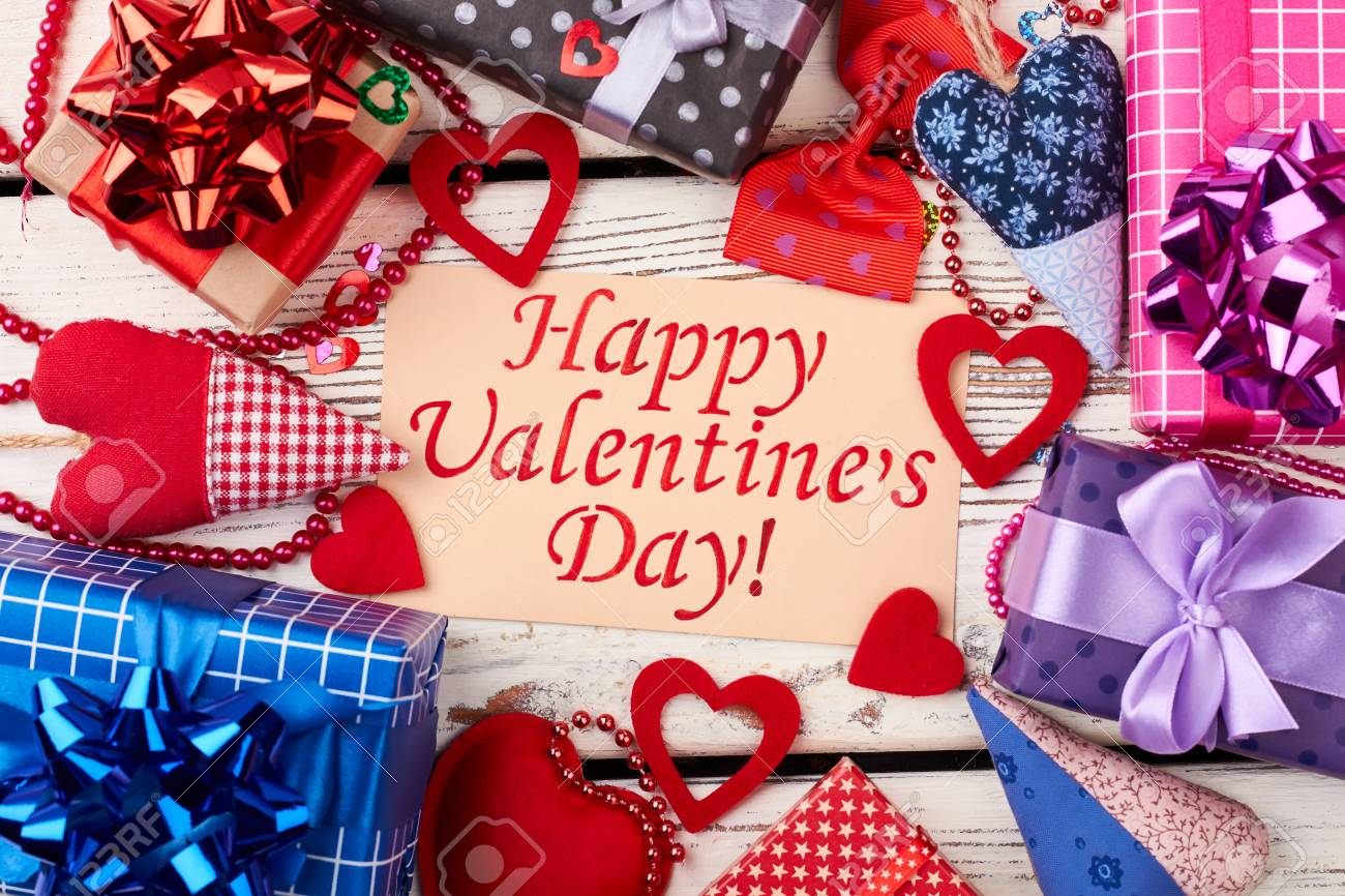 Fabric Hearts And Gift Boxes Greeting Paper And Bead Garland Stock Photo Picture And Royalty Free Image Image 69973889