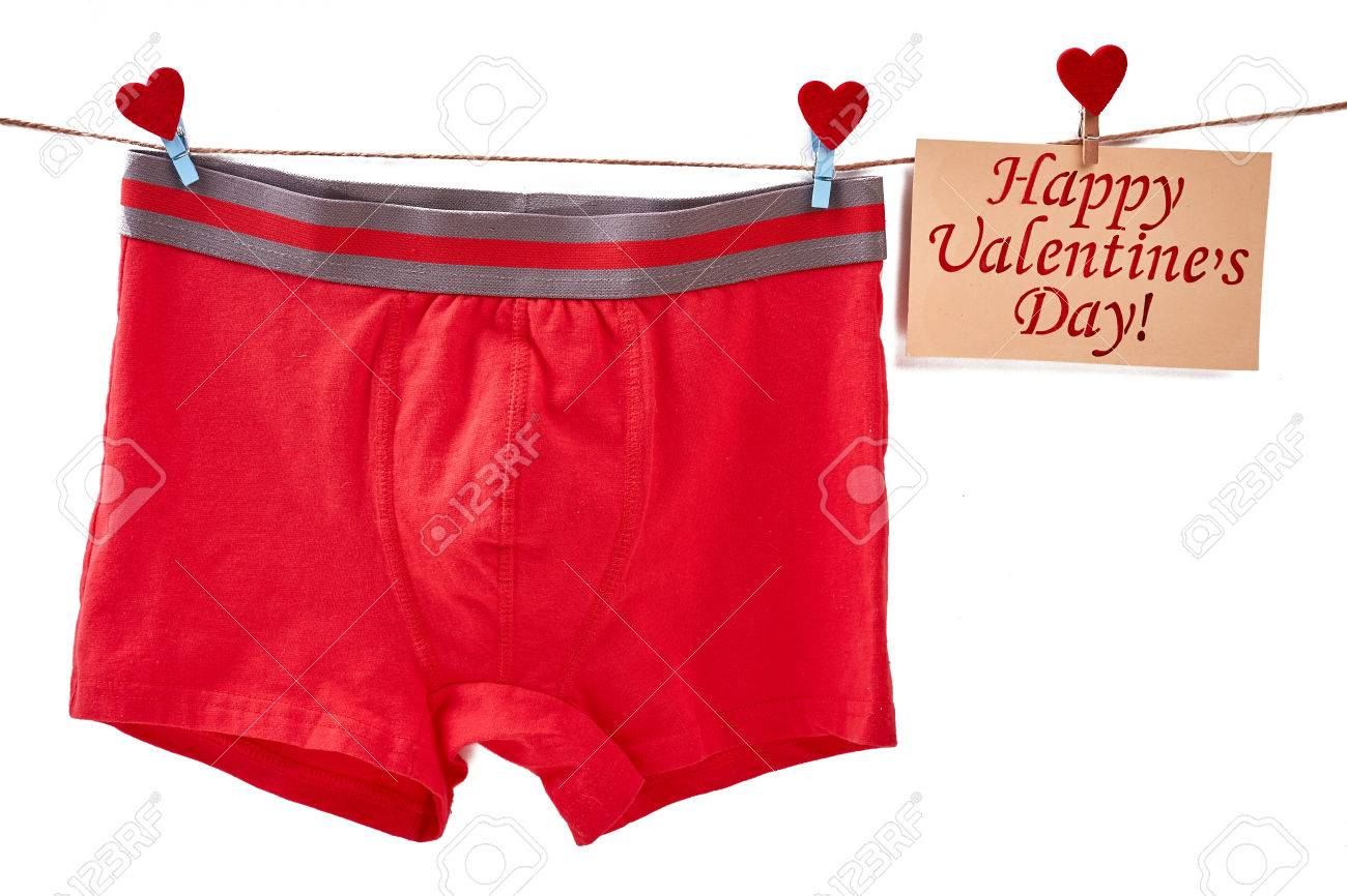 Mens Underwear On White Backdrop Valentines Day Card On Rope