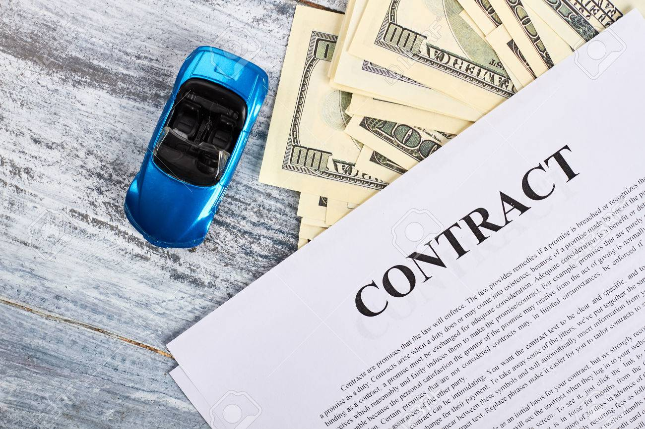 Car Documents And Currency Conclusion Of Purchase Agreement Stock
