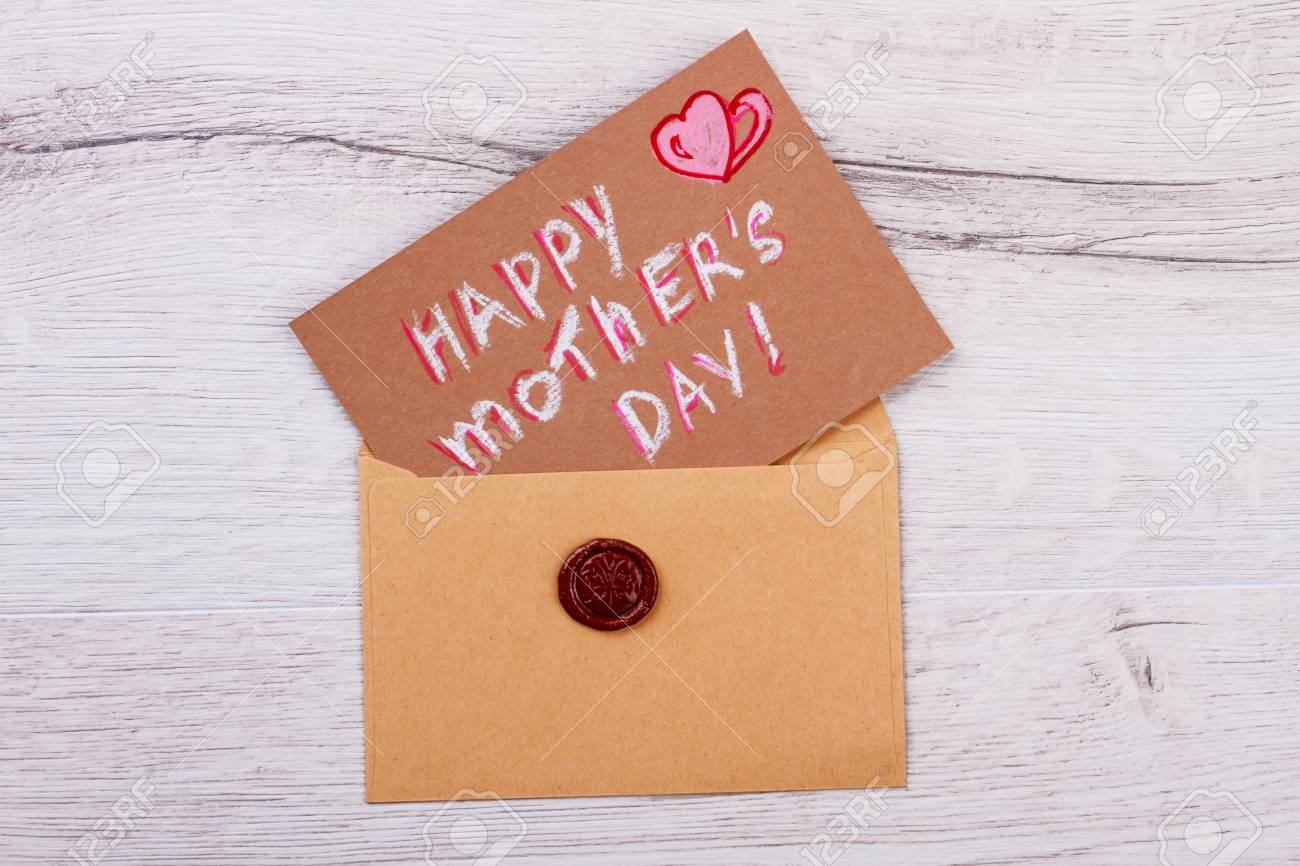 mothers day card on envelope envelope with seal send mother