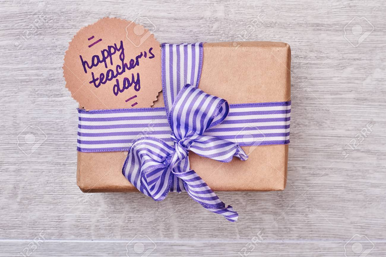 Present Box For Teachers Day Striped Bow On A Gift Warm Greetings