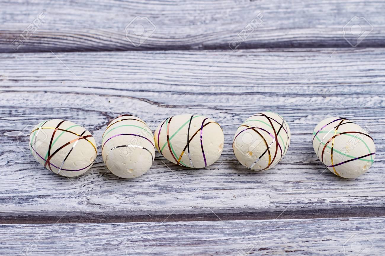 Polystyrene Eggs Gray Wood Background White Styrofoam Easter
