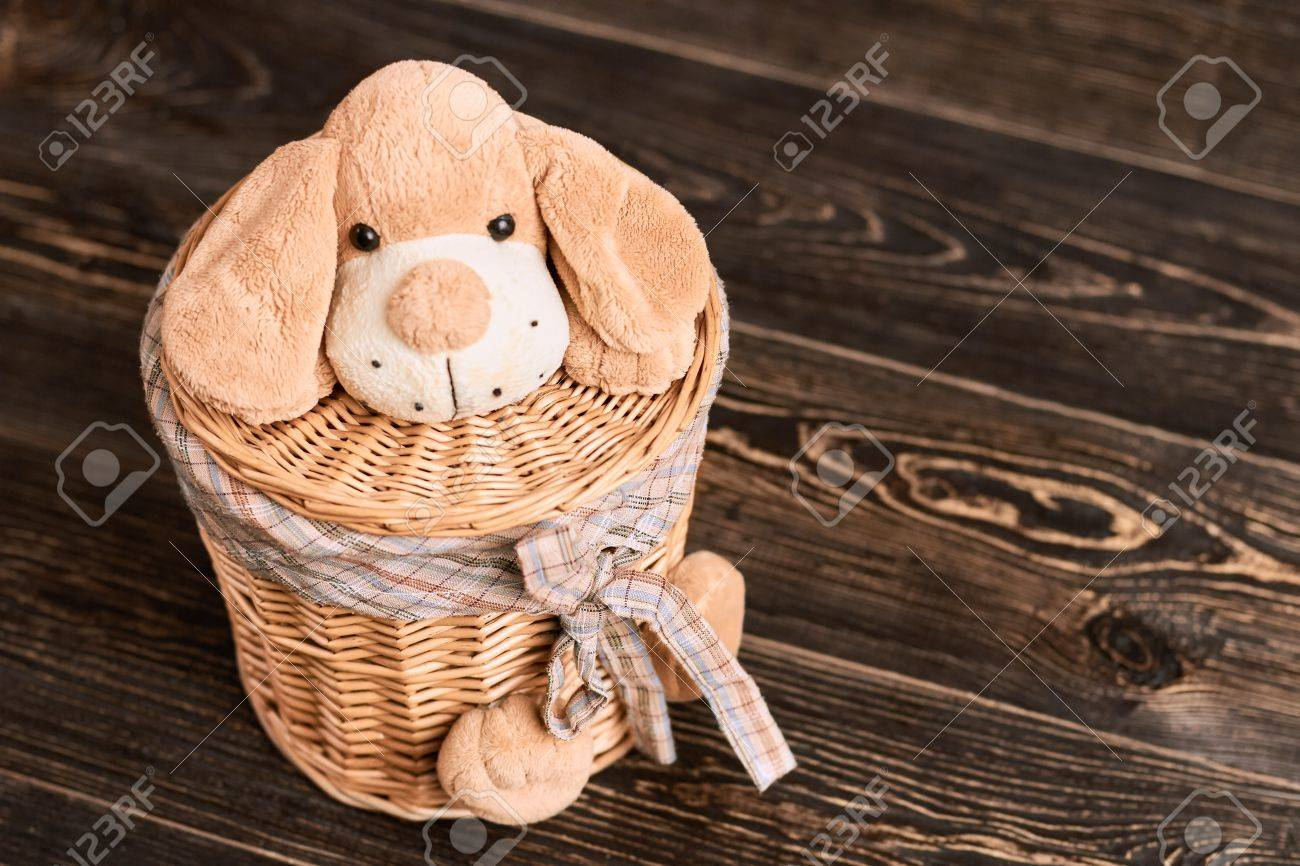 Willow Basket With Soft Toy Laundry Basket With Lid Home Crafts Stock Photo Picture And Royalty Free Image Image 78866527