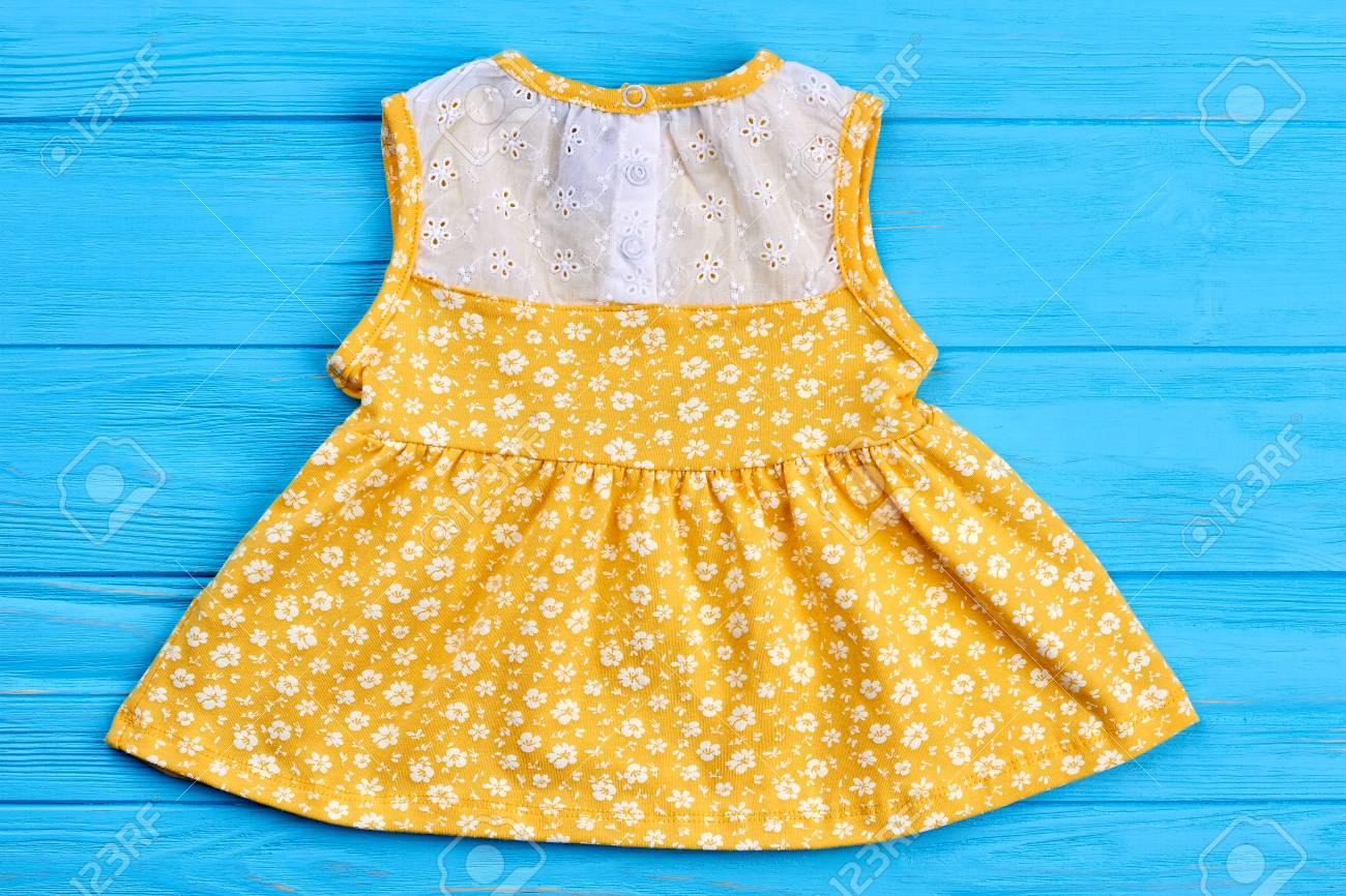Baby Yellow Dress With Pattern Of Flowers Cute Colored Summer