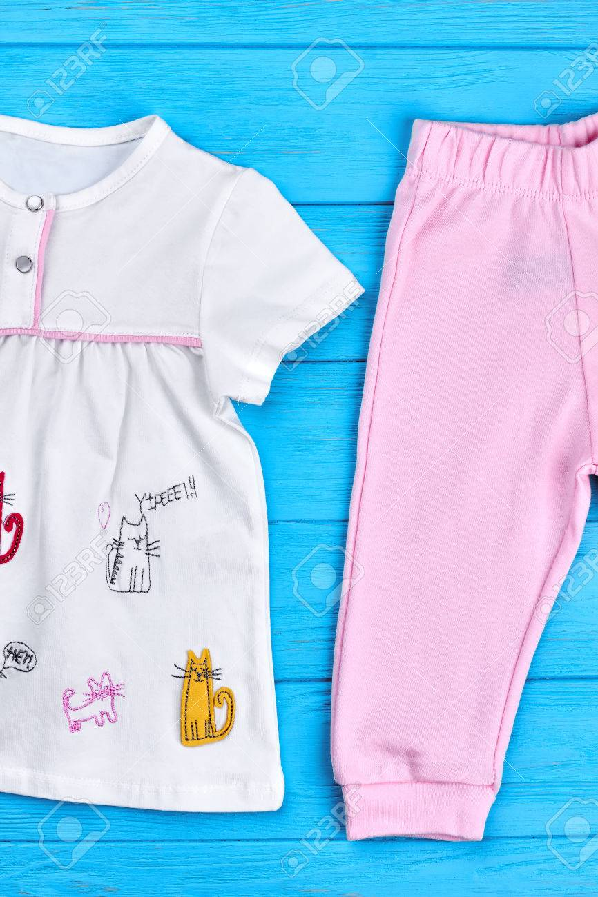 82ad32487 Stock Photo - Toddler girl natural summer garment. Set of beautiful cotton  clothes for toddler girls. Brand cotton apparel for kids for casual wear.