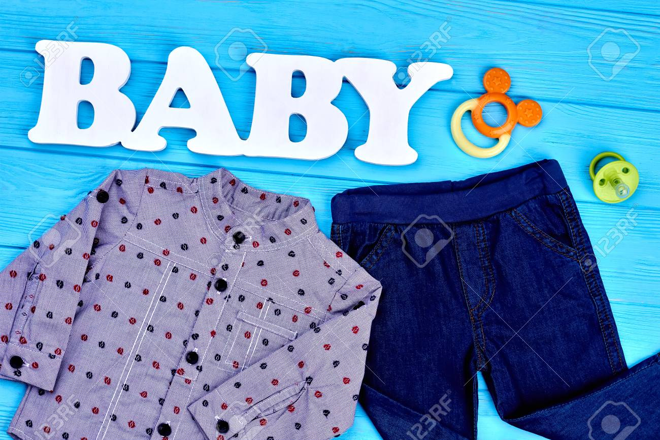 a5b459315 Infant boy clothes and accessories. Baby-boy autumn fashion background. Kids  fashion style