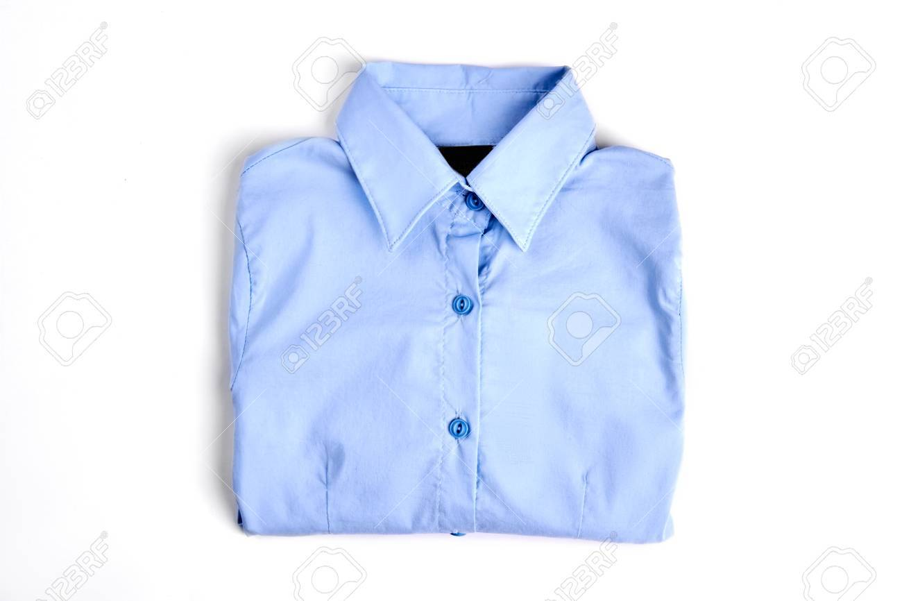Female Light Blue Formal Shirt New Folded Cotton Woman Shirt