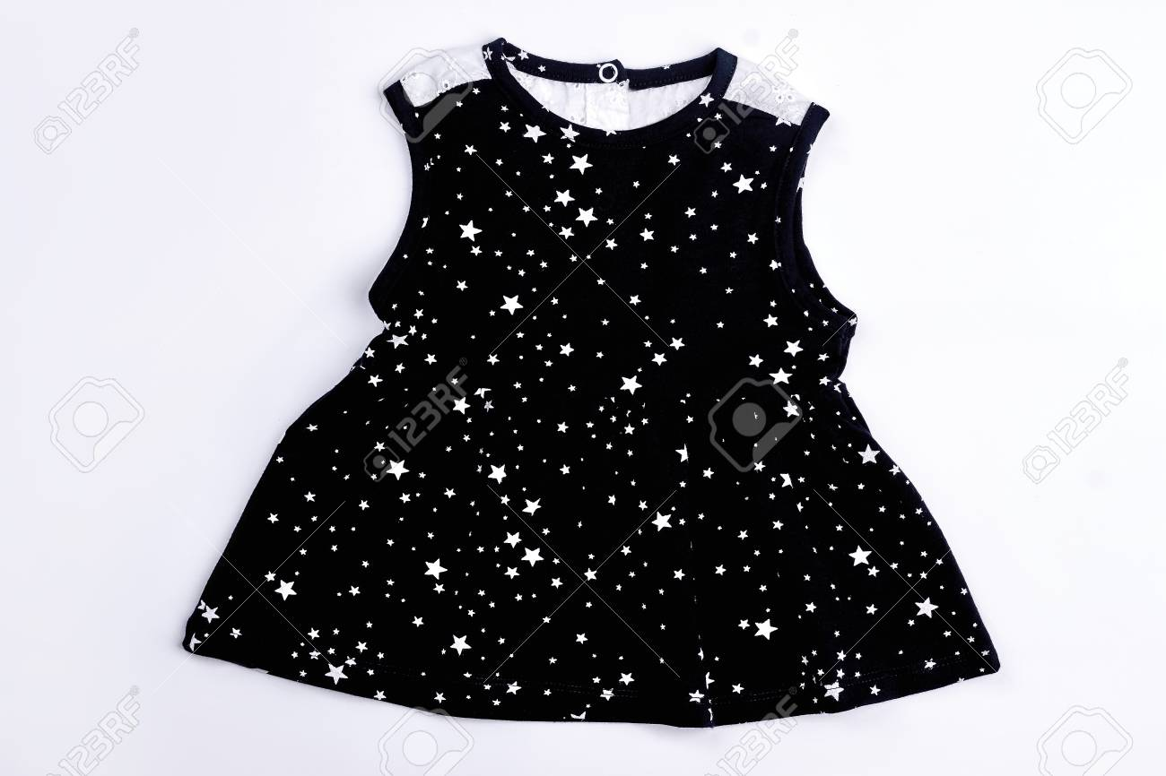 9d8ad0d1a Baby-girl black printed dress. Infant girl cotton black dress with a  pattern of