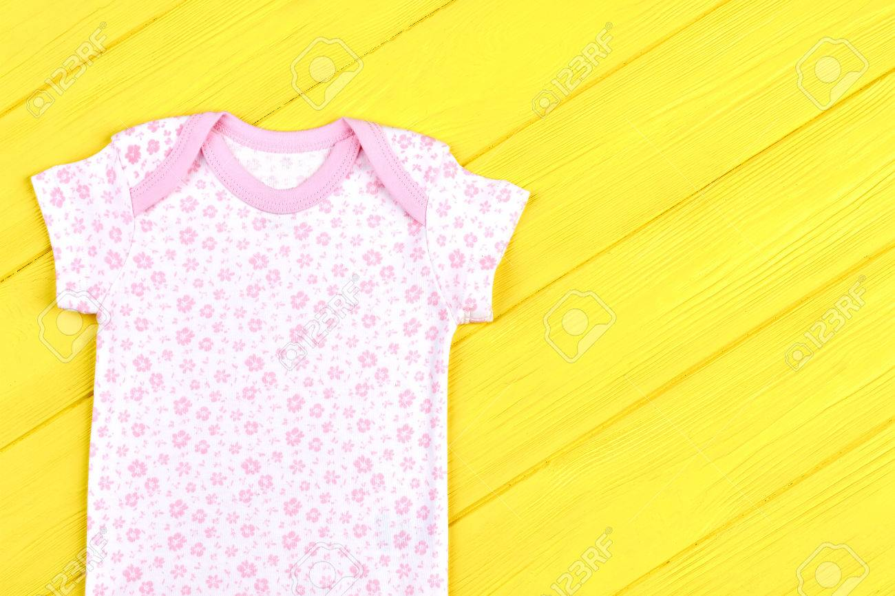 ac4a385ba3d Infant girl soft cotton t-shirt. Baby-girl beautiful brand bodysuit on  yellow