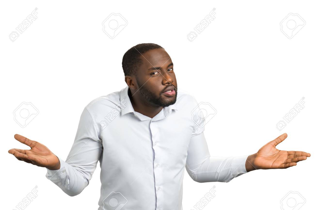black man with hands in different sides confused man in white